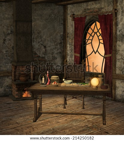 Alchemy room - stock photo