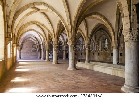 Alcobaca, Portugal - July, 2015: Monks Dormitory of the Alcobaca Monastery. Masterpiece of the Gothic architecture. Cistercian Religious Order. Unesco World Heritage. - stock photo