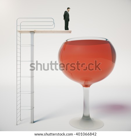 Alcohol addiction concept with businessman about to jump into huge wine glass on light background. 3D Rendering