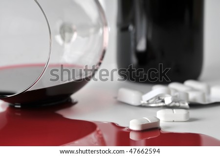 alcohol and pills - stock photo