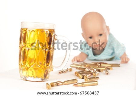 alcohol and weapons - stock photo