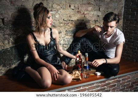 alcohol bad lifestyle - stock photo