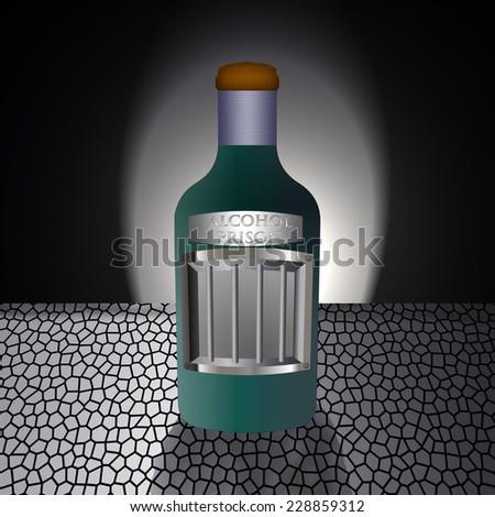 Alcohol bottle function as a prison/Alcohol addiction/Creative illustration design - stock photo