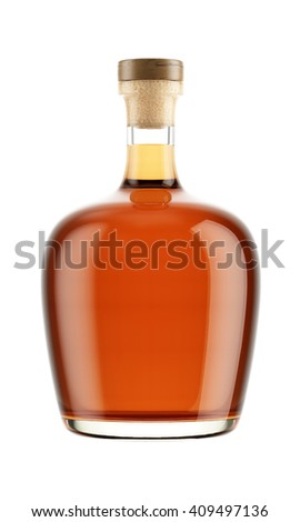 Alcohol bottle with a wooden stopper isolated on white background. Tincture, balsam, whiskey, cognac, brandy, rum, port wine. 3D Mock up for your design. - stock photo
