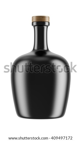 Alcohol ceramic bottle with a wooden stopper isolated on white background. Tincture, balsam, whiskey, cognac, brandy, rum, port wine. 3D Mock up for your design. - stock photo