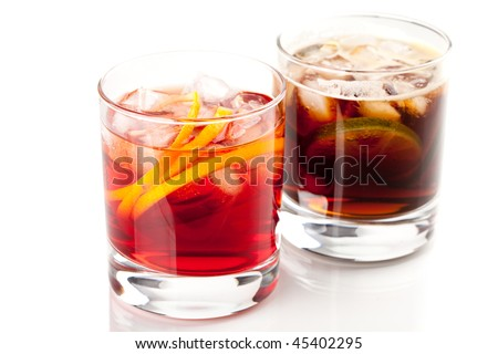 Alcohol cocktail collection - Negroni and Cuba Libre. Isolated on white background - stock photo