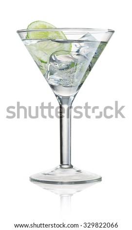 alcohol cocktail with green lime isolated on white - stock photo