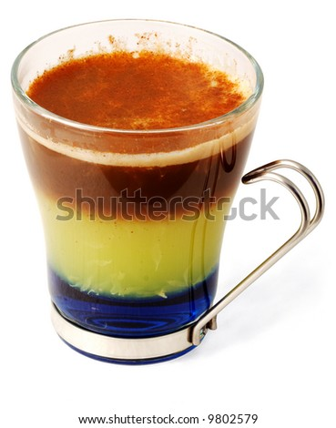 Alcohol cocktail with liqueur and coffee in glass cup (with clipping path for easy background removing if needed) - stock photo