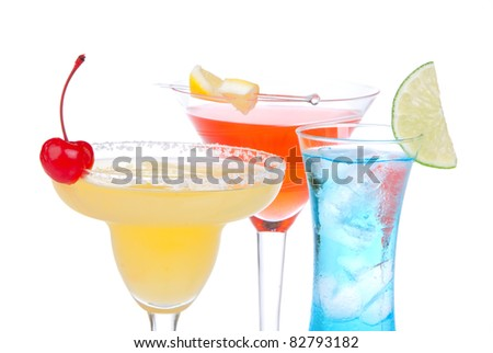 Alcohol Cocktails. Many drinks beverages Blue hawaiian, mojito; tropical Martini, tequila sunrise, margarita, shot of vodka, cherry, mint, lime on white background - stock photo