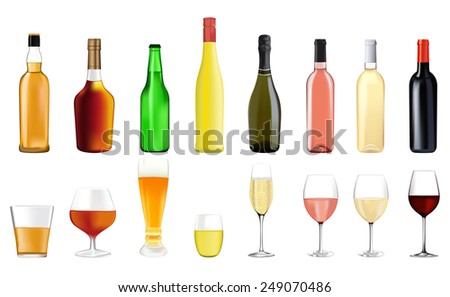 Alcohol drinks in bottles and glasses: whiskey, cognac, brandy, beer, liquor, champagne, wine  - stock photo