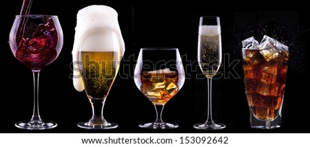 alcohol drinks set isolated on a black background - beer,wine,champagne,scotch,soda