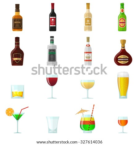 Alcohol flat icons set with whiskey brandy bottles and cocktail glasses isolated  illustration