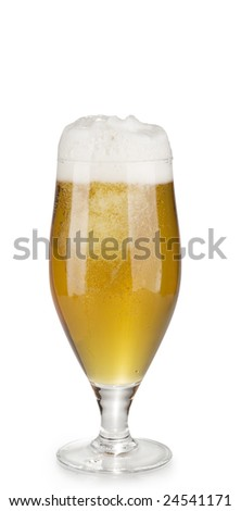 Alcohol light beer glass with froth and bubbles isolated over white background.