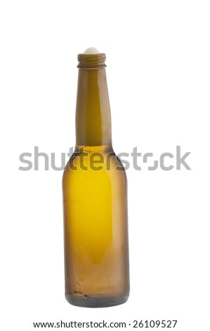 Alcohol light beer opened  bottle isolated on a white background - stock photo