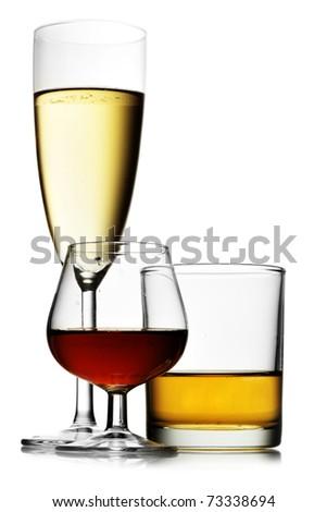 Alcoholic beverages isolated over white background - stock photo