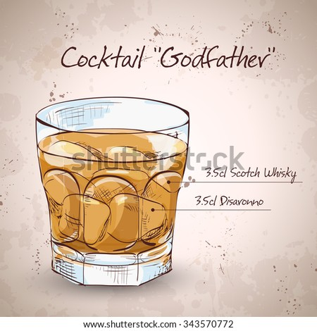 Alcoholic Cocktail Godfather with Scotch whiskey and liqueur Amaretto - stock photo