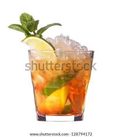 alcoholic cocktail isolated on white background - stock photo