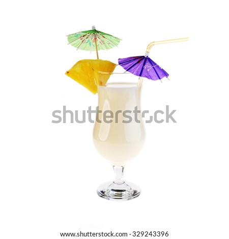alcoholic cocktail pina colada in glass