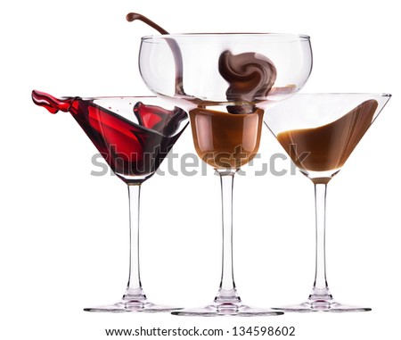 alcoholic cocktail set  splash - Red cosmopolitan, Chocolate cocktail