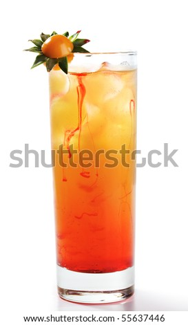Alcoholic Cocktail with Tequila, Orange Juice, and Grenadine Syrup. Isolated on White Background. - stock photo