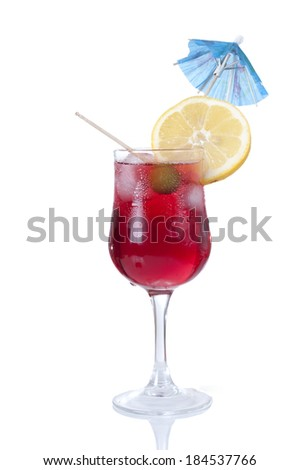 alcoholic cocktail with umbrella  isolated on white background  - stock photo