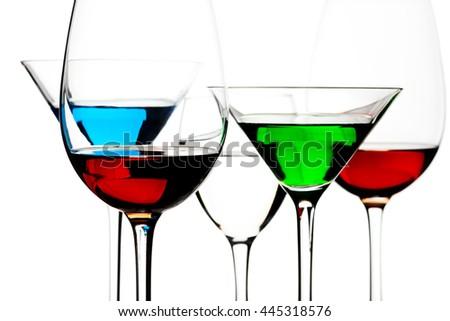 alcoholic cocktails isolated on white - stock photo