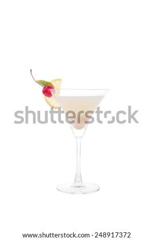 alcoholic cocktails isolated on white background. - stock photo