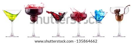 alcoholic  cocktails set - cosmopolitan, Blue Curacao, Chocolate cocktail,martini,margarita, - stock photo
