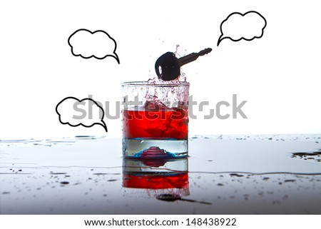 Alcoholic Drink with Car Keys concept drinking and driving - stock photo