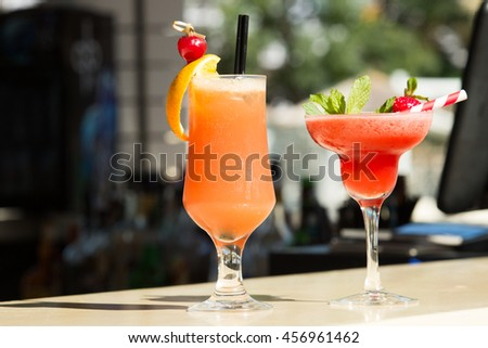 Fresh smoothie sushi bar on summer stock photo 455480068 for Cool alcoholic drink names