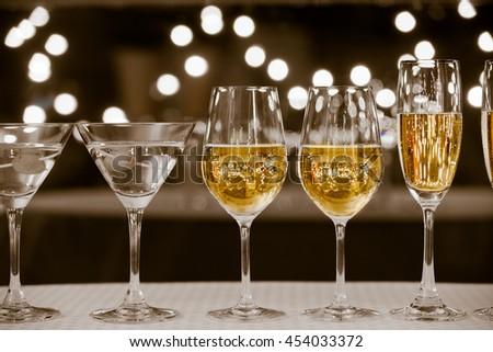 Alcoholic drinks on a restaurant bar.  - stock photo