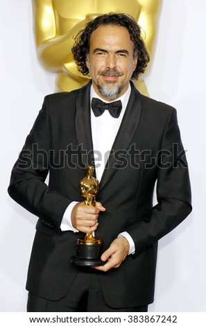 Alejandro Gonzalez Inarritu at the 88th Annual Academy Awards - Press Room held at the Loews Hollywood Hotel in Hollywood, USA on February 28, 2016. - stock photo