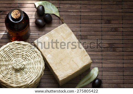 Aleppo natural soap closeup - stock photo