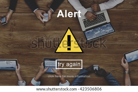 Alert Warning Sign Icon Concept - stock photo