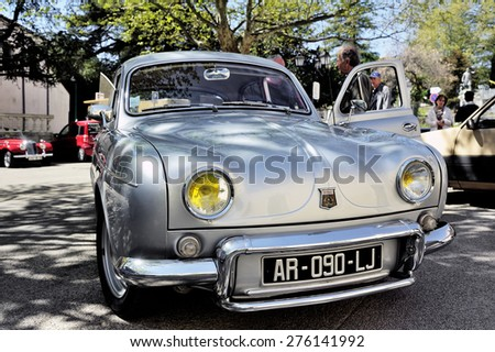 ALES, FRANCE - APRIL 11: Renault Dauphine Gordini gray photographed vintage car rally in the square of the Town Hall of the city of Ales in the Gard department, April 11, 2015.