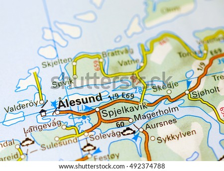 Alesund Area On Map Stock Photo Royalty Free 492374788 Shutterstock