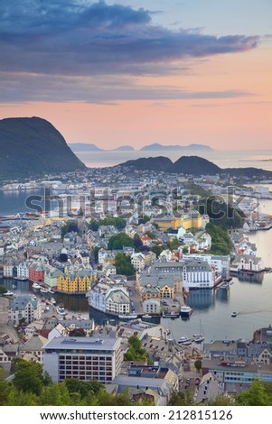 Alesund, Norway. Image of norwegian city of Alesund during sunset. - stock photo