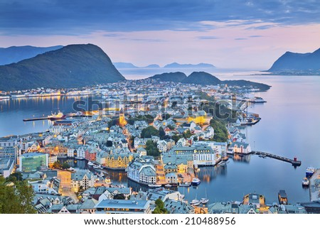 Alesund, Norway. Image of norwegian city of Alesund during twilight blue hour. - stock photo
