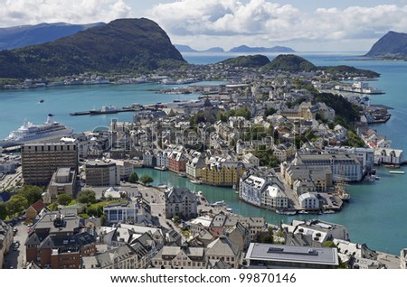 Alesund, Norway -  Summer, Sunny view of Alesund Norway. Alesund is know as the Art Deco city of Norway due to it's many Art Deco buildings - stock photo