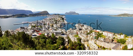 Alesund panorama. City on the north-west coast of Norway surrounded by high mountains and deep fjords. - stock photo