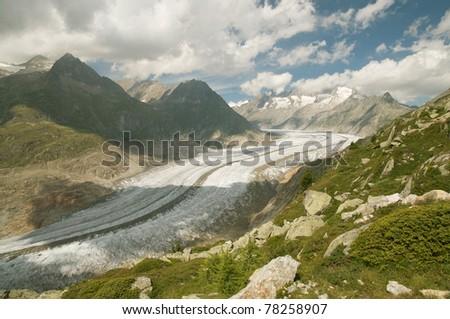 aletsch glacier (switzerland) - stock photo