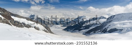 Aletsch Glacier, the largest glacier of the alps and UNESCO World Heritage photographed from the Jungfraujoch, Bernese Oberland, Switzerland  - stock photo