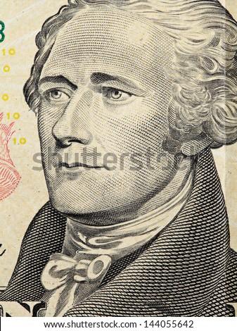 Alexander Hamilton on US ten dollars bank note - stock photo