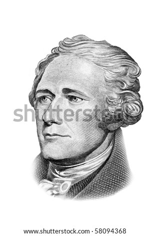 Alexander Hamilton portrait on ten US dollars banknote. Isolated on white. Black and white picture. - stock photo