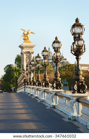 Alexander III bridge in Paris, empty in the early morning, France - stock photo