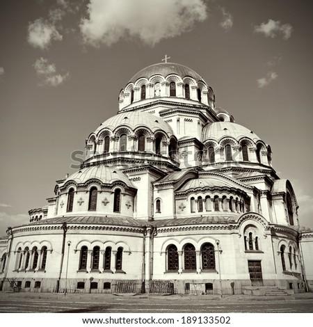 Alexander Nevski Cathedral in Sofia, Bulgaria. Vintage retro style - stock photo