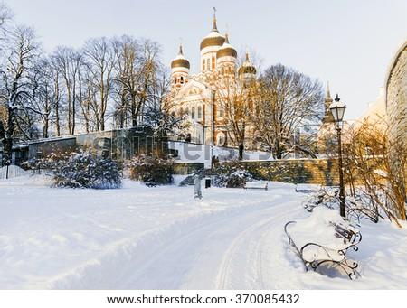 Alexander Nevsky Cathedral in Tallinn on a winter day, Estonia - stock photo