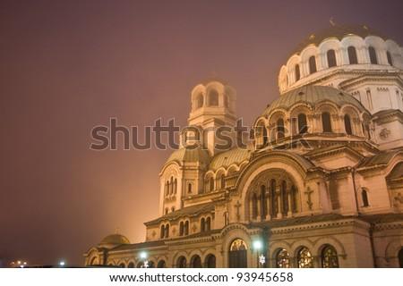 Alexander Nevsky cathedral - night shot - stock photo