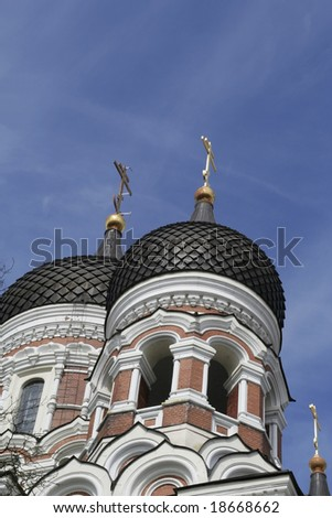 Alexander Nevsky Cathedral Russian Orthodox in Tallin - stock photo