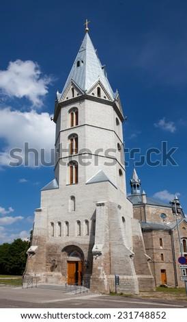 Alexander's Lutheran church in Narva, Estonia - stock photo